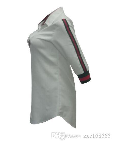 Vestidos casuais das mulheres Blusas soltas de manga comprida T shirt vestidos de moda sexy camisa dress club listrado cardigan dress tops branco azul vermelho