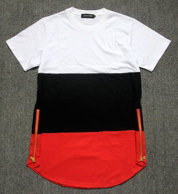 Netter Qaulity Histreet Promi-Mannt-shirts goldener Reißverschluss Hiphop KTZ jay-z Breathable Baumwollpatchwork lang verlängerter Tropfen T-Shirt Männer