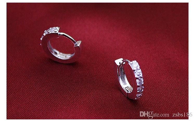 2015 новый дизайн стерлингового серебра 925 маленький швейцарский CZ Алмаз Хооп серьги красивая свадьба / участие ювелирные изделия бесплатная доставка