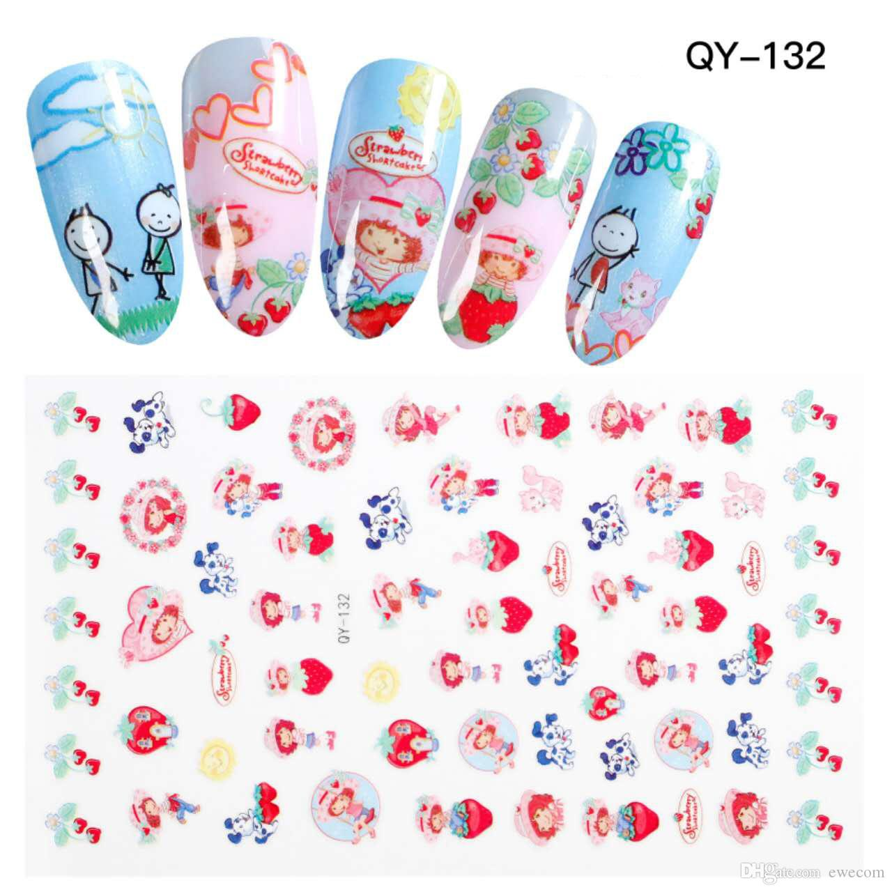 High Quality Cute Cartoon Girl Strawberry Nail Art Stickers Decals ...
