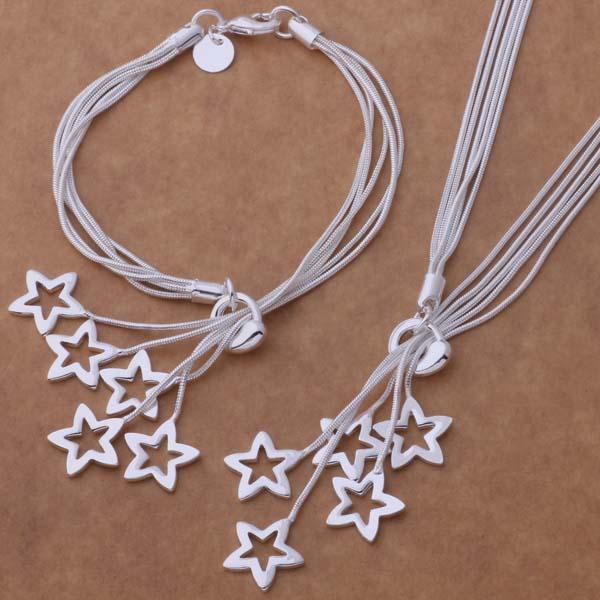 Kostenloser Versand mit Tracking Number Best Hot 925 Sterling Silber Multi Hohl Herz Sterne Ketten Halskette Armbänder Set Schmuck