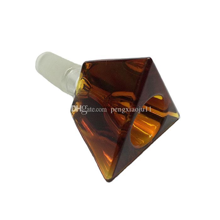 머리 색깔 삼각형 유리 그릇 흡연 그릇 유리 물 파이프 남성 그릇 14 18mm 무료 배송