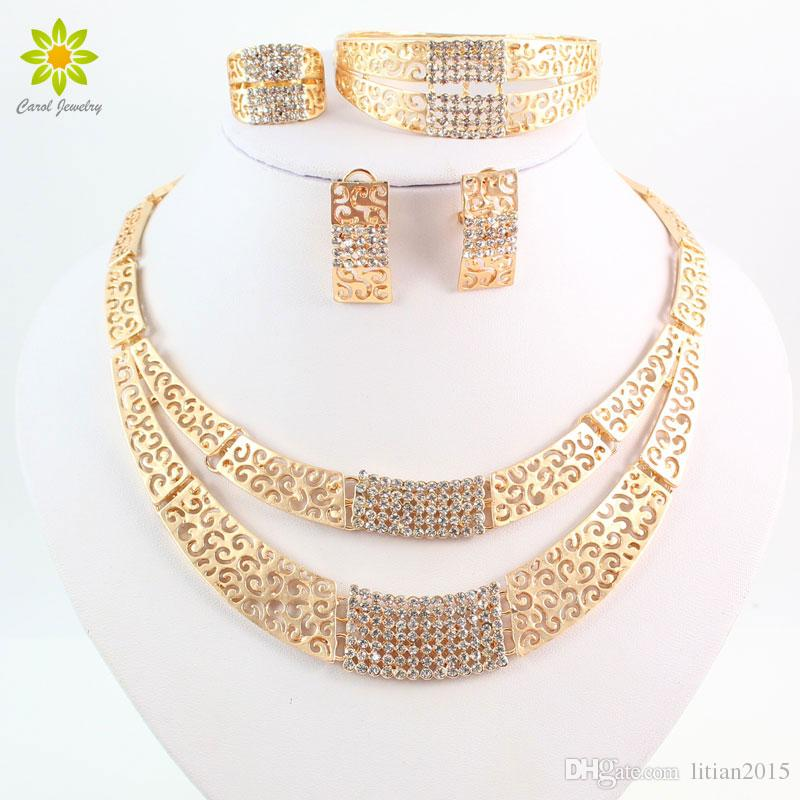 eec2b0d39f Jewelry Sets Fashion Wedding Accessories African Jewelry Sets 18K Gold  Rhinestone Necklace Earrings Set Bridal Jewelry Set