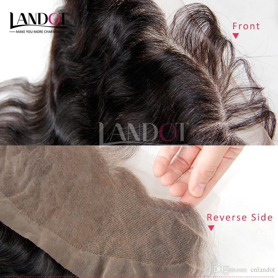 Класс 8A бразильское кружево фронтальное закрытие тела волна волнистые размер 13x4 полный кружева фронтальная 100% необработанные девственные человеческие волосы закрытия натуральный черный