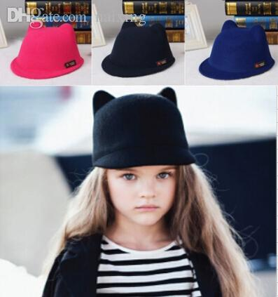 Wholesale-Parent-child cap 2015 new 54cm 57cm children's family cap hat wool cute car ears hat winter fedora for women