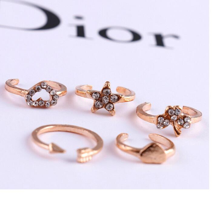 6 шт. / Много Кольца Knuckle Кольца миди женщин Любовь сердца звезда Клевер кольцо совместное кольцо 18 К позолоченные кольца