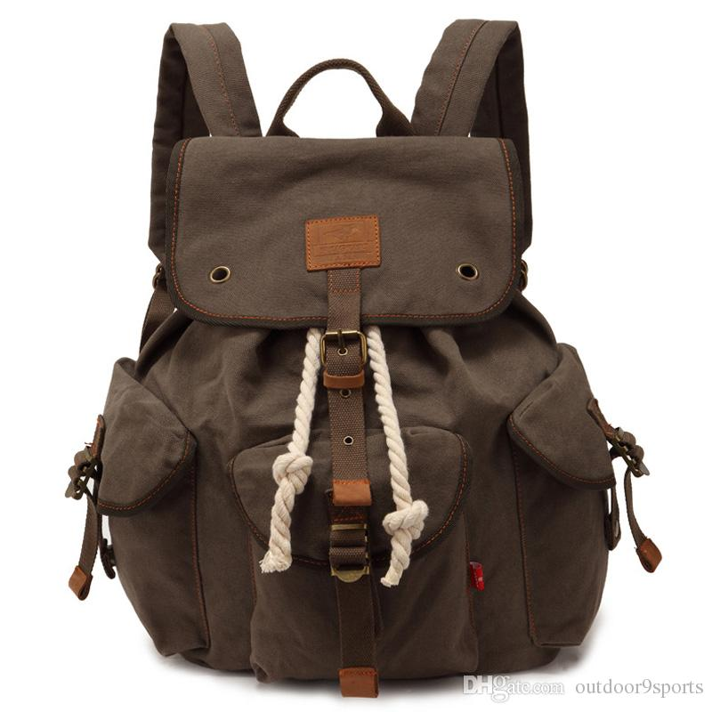 New Outdoor Canvas Fashion Backpack Retro Shoulder Bag Leisure Sports Outdoor Travel Large-capacity Men Women Shoulder Bags for Sale