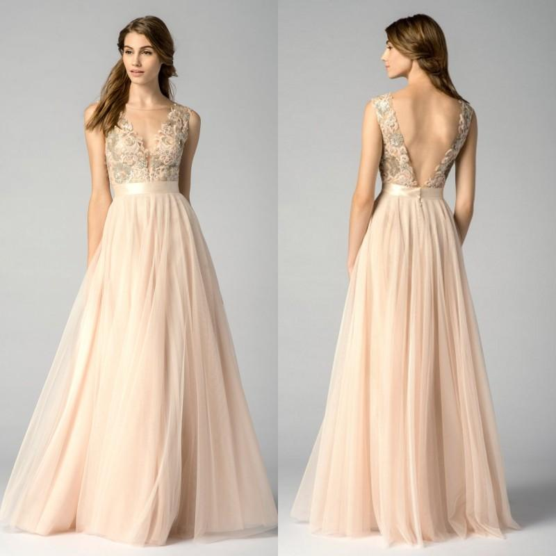 2017 Watters Bridesmaid Dresses Blush Pink V Neck Sleeveless Floor ...