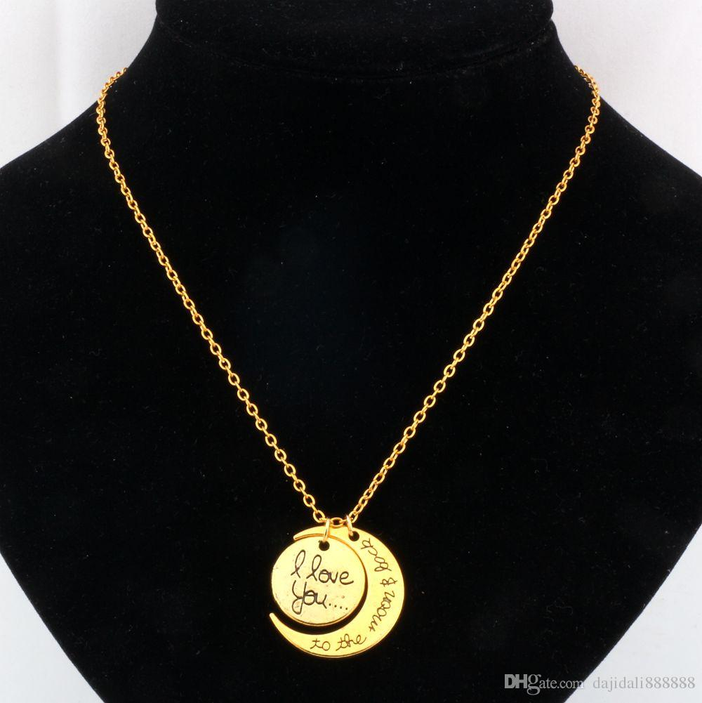 Горячей ! 20 шт. Европейская и американская мода Я люблю тебя до Луны назад Лучший друг дружественная одежда Ожерелье
