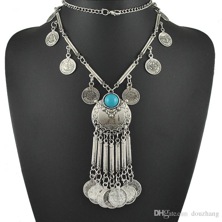 Bohemian Jewelry Resin Beads Gem Vintage Retro Coin Long Pendant Necklace Gypsy Tribal Ethnic Turkish Jewelry Wholesale