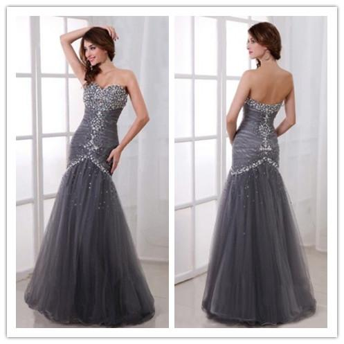 Grey mermaid vintage wedding dress special occasion 2014 elegant grey mermaid vintage wedding dress special occasion 2014 elegant long floor sweetheart high quality tulle beading beads wedding bride gowns wedding dress junglespirit Images