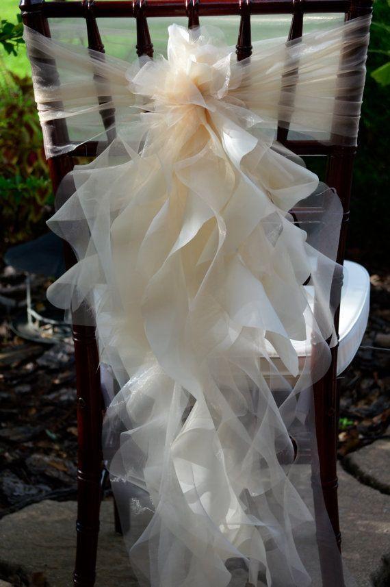 2016 Ruffled Chair Sashes White Ivory Champagne Chair