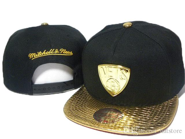 Nets Mitchell And Ness Snapback Hats Black Gold Brim Cap For Man Snapback  Team Hats For Men Football Basketball Snapback Hats DDMY Cap Store Custom  Fitted ... 992169d33e6