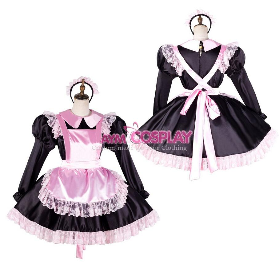 Custom Made Lockable Pansy Sissy Maid Satin Lace Up Pink Dress ...