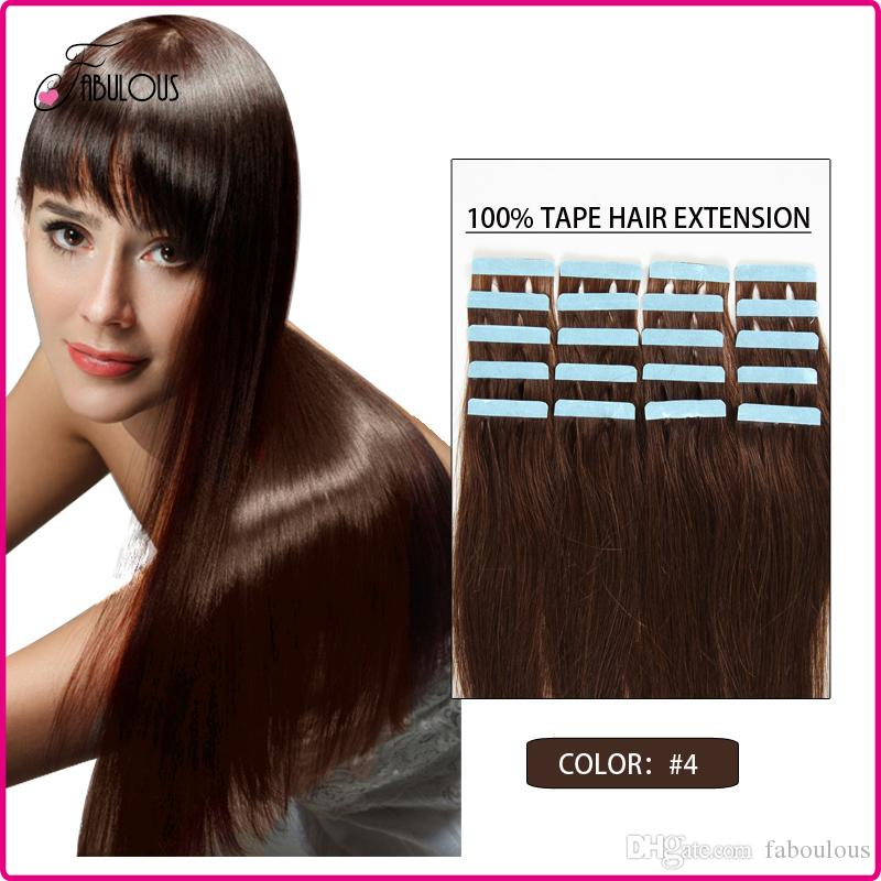 16 18 20 22 24inch Tape In Human Hair Extensions 4 Dark Brown 30