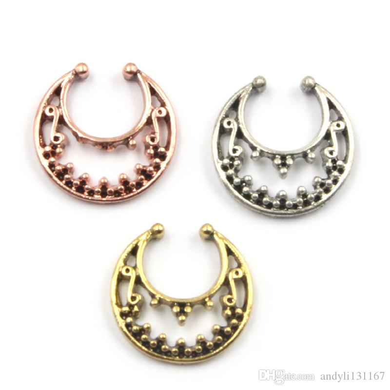 punk taboo silver and gold small non piercing nose stud acrylic turquoise fake nose piercing septum N0034