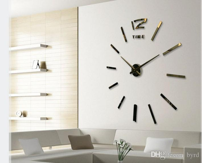 DIY 3D 미러 아크릴 스티커 벽 시계 임의의 색 황금 0,201,003