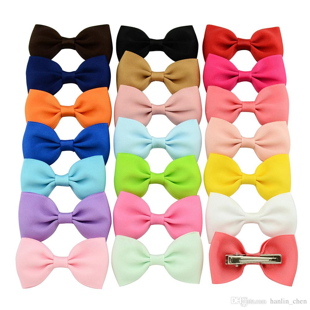 2018 Direct Selling New Arrival Candy Color Childrens Hair Accessries Girls Bow Cute Hairpins Barrete Duckbill Clip Ribbon Hairgrips 643