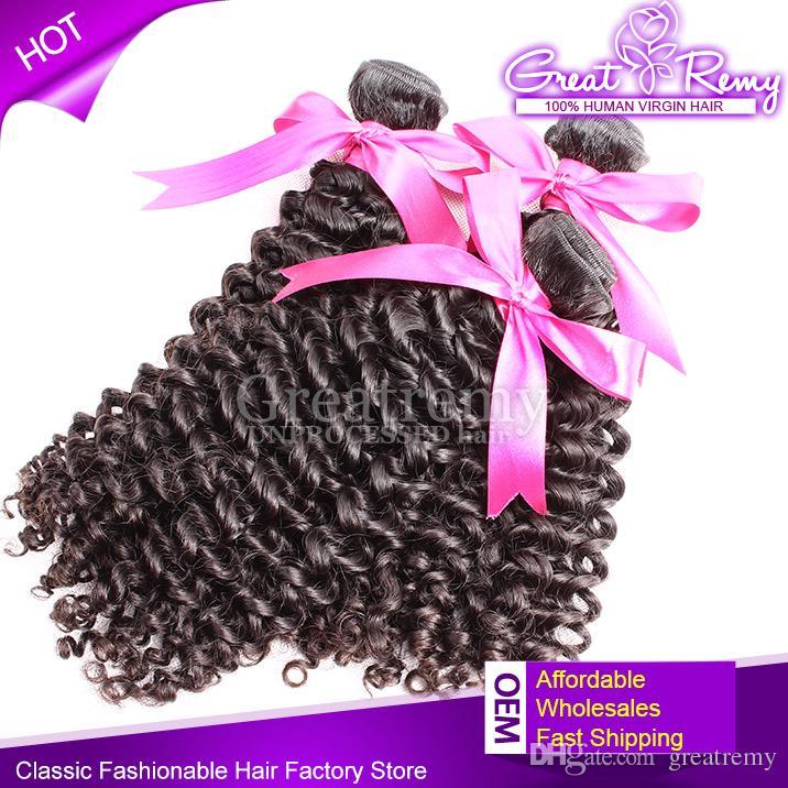 Greatremy® 4 개 / 많은 브라질 인간의 머리 번들 8-30 자연 색상 염색 깊은 곱슬 버진 헤어 익스텐션 공장 저렴한 가격 헤어 씨실