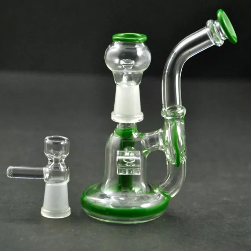 "Small Dabber Recycler Oil Rigs 4"" inches New Design Glass Bong Bent Neck Downstem Water Pipes Pink GreenColors Hookahs with Glass Bow"