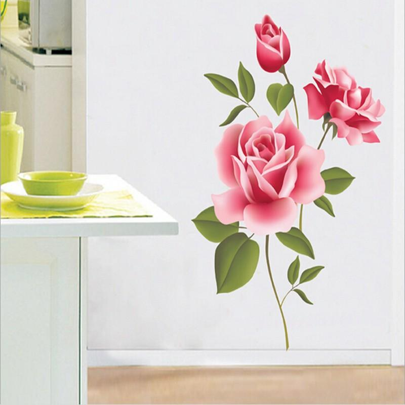 Pink Rose Flower Decal Vinyl Wall Removable Pvc Sticker Decoration