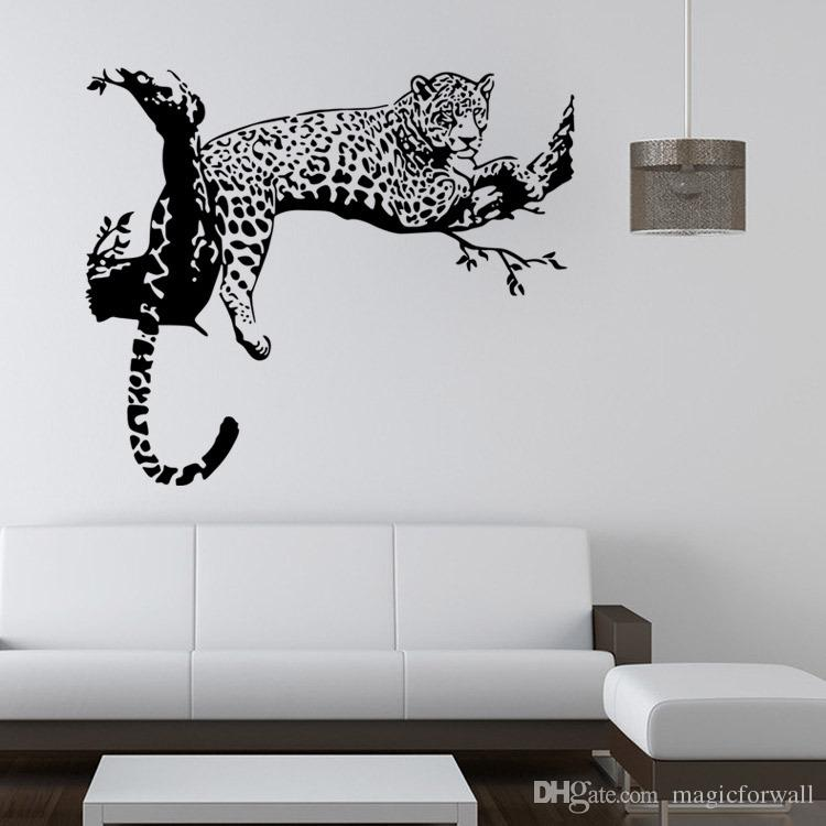 Leopard on Tree Wall Art Mural Decor Living Room Bedroom Wall Decal Poster Sleeping Leopard Wall Applique Graphic
