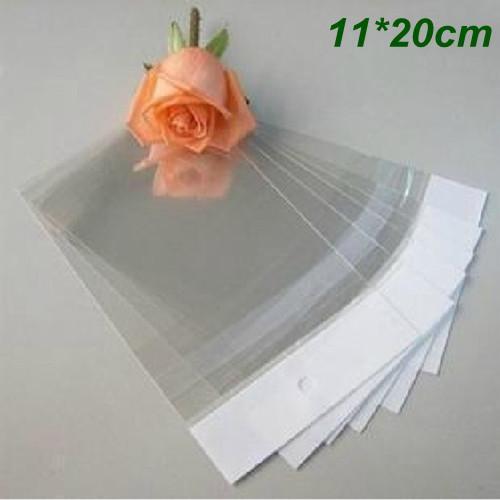 11 * 20cm autoadesivo Limpar saco de plástico OPP Poly Bag Pouch presente sacos de embalagem para artesanato jóias Ornamentos Anéis Brincos Com Asa Buraco