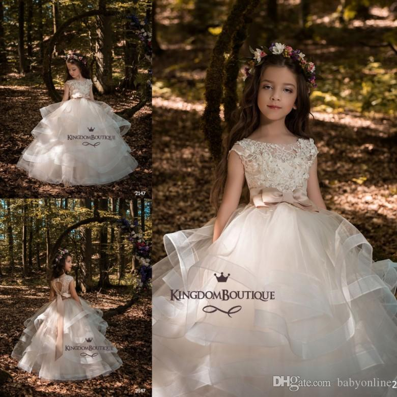 1aa2de28446 2018 Newest Flower Girl Dresses Princess Ball Gown Layers Tulle Long With  Bow Sash Cap Sleeves Appliqued Girls Pageant Party Gowns White Flower Girl  Dress ...