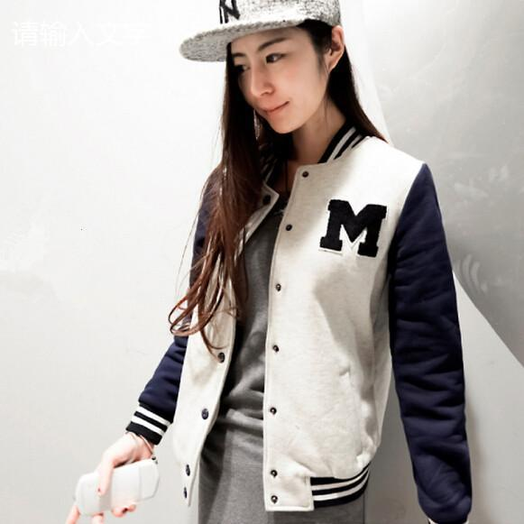 Autumn And Winter Letter M Varsity Jacket Long Sleeve Baseball ...