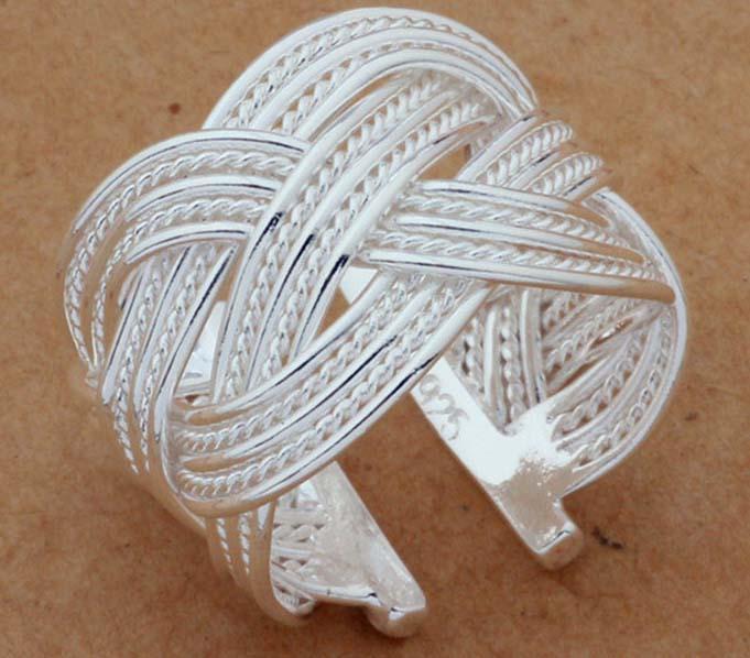 925 Sterling Silver Ring Fine Fashion Big Net Weaving Silver Jewelry Ring Women&Men Gift Finger Rings 001