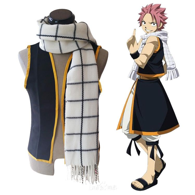 Prettybaby 180cm Anime Fairy Tail Scarf Cosplay Natsu Dragneel Grid