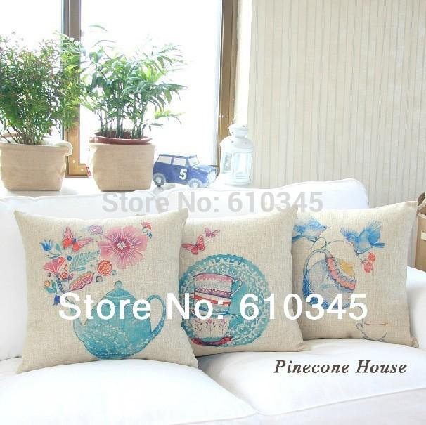 45x45cm Teapot And Teacup Home Decor Cushion Linen Cotton Pillow