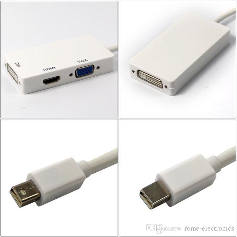 Mini DisplayPort 3 in 1 Thunderbolt to HDMI DVI VGA Display Port Cable Adapter for Apple Macbook Pro Microsoft Surface Pro 2 3