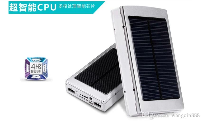 Solar Charger and Battery 15000mAh Solar Panel Dual USB LED Charging Ports power bank with Connector package for Cell Phone