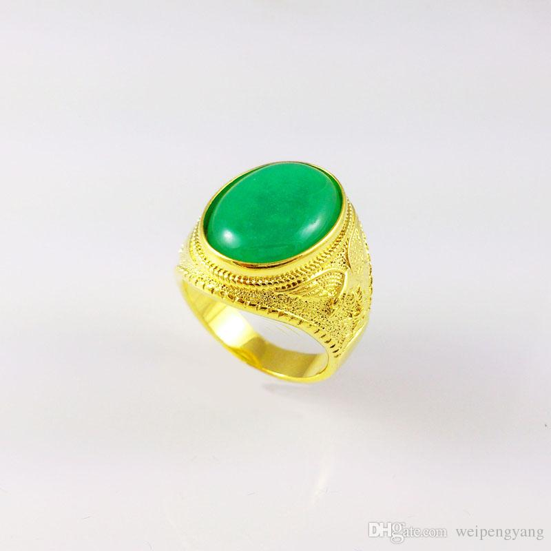 18k gold filled mens ring China green jade High-end atmosphere wide 14mm size 9 10 11 wedding ring