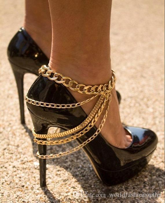 Модные ювелирные изделия Ножные браслеты Цепочка для ног РАБОВЫЕ ЮВЕЛИРНЫЕ ИЗДЕЛИЯ ЦВЕТОЧНАЯ ЦЕПЬ ДЛЯ ЛАБОРАТОРОВ Для высоких каблуков из металла Толстая цепь Золото / Серебро Бесплатно DHL