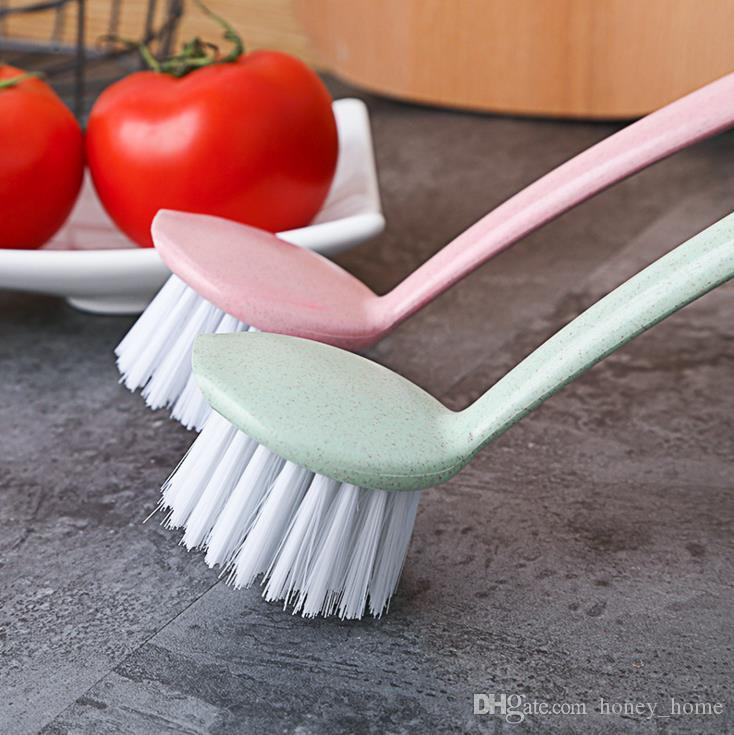 Vertical smiley color multi-purpose long handle brush, kitchen sink sucker clean pot brush