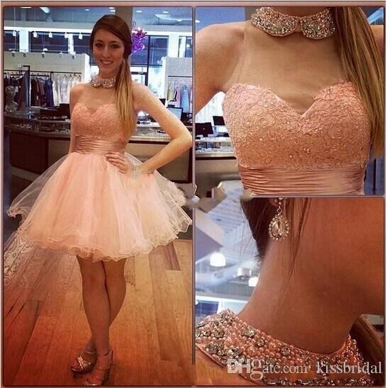 Kurze Party Kleider Perlen Kristall Perlen High Round Neck Lace Organza Mini Graduation Kleider Homecoming Kleid Abendkleid