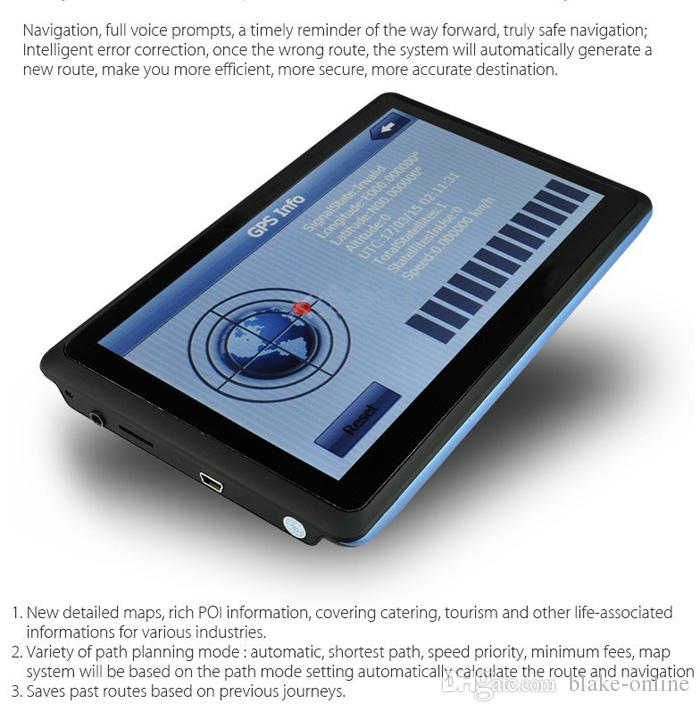 HD 7 인치 차 GPS 항해 FM 송신기 트럭 네비게이터는 빠른 토 NAV와 8기가바이트 새로운지도를 알립니다