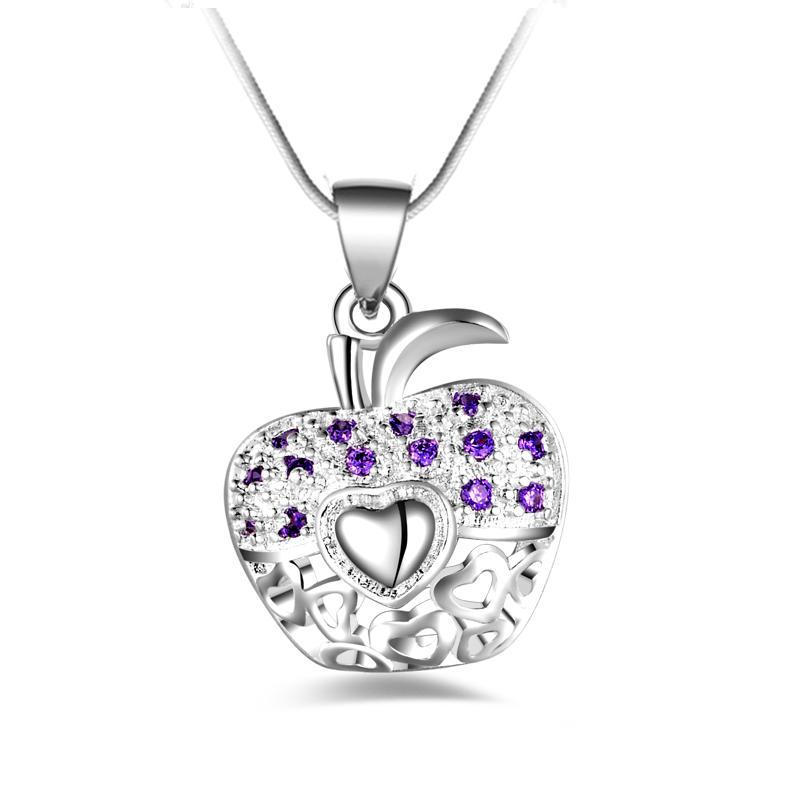 O envio gratuito de moda de alta qualidade 925 prata Apple com diamante Roxo jóias 925 colar de prata presentes do feriado do Dia Dos Namorados Quente 1694