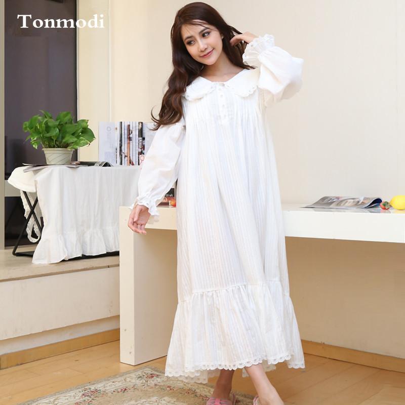 Wholesale- Hot Sell Nightgowns Women Long White Night Dress 100 ...