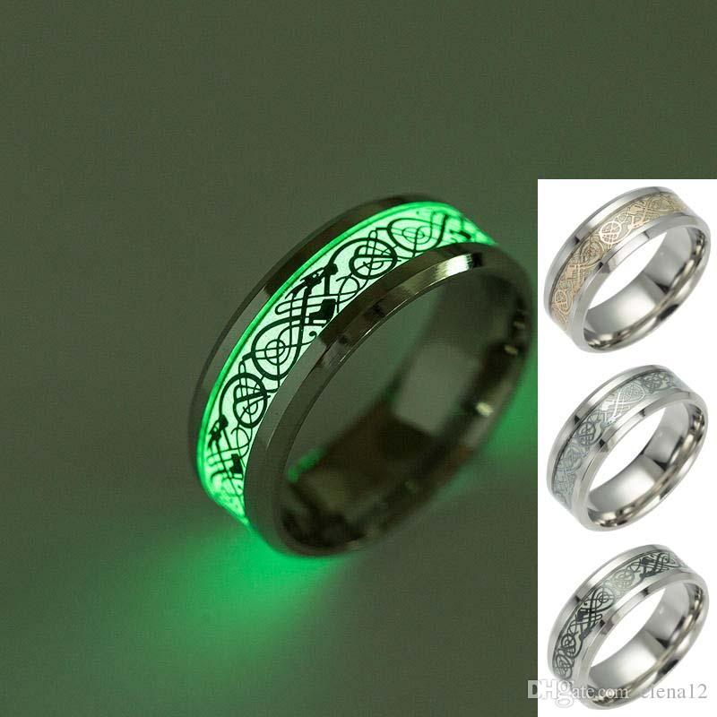 New Mens Anel Anéis de Dragão Luminoso para Homens Preto de Prata de Aço Inoxidável Mulheres Anéis Brilham No Escuro Masculino Jóias Anel 080254