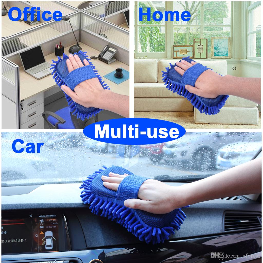 Car Sponge Washing Brush Gloves Microfiber Chenille Cleaner Truck Cleaning Cloth Clean Accessories
