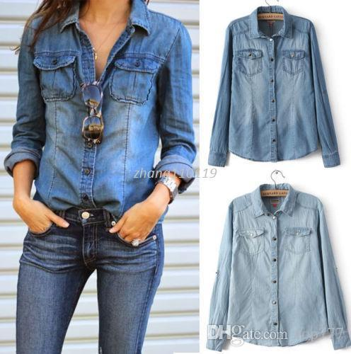 4c3486e13 Compre Hot New Retro Moda Feminina Casual Azul Jean Denim Camisa De Manga  Longa Tops Casaco Blusa De Top777