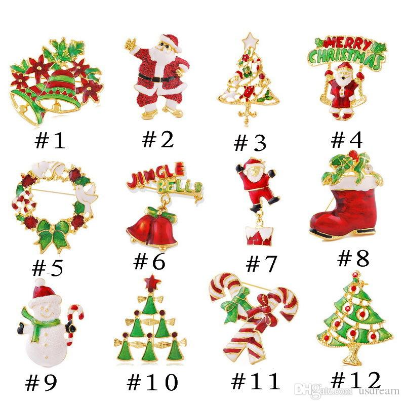 2018 12 models xmas gift christmas brooch pins alloy christmas tree snowman santa claus jingle bells brooch charm jewelry for kids gift 170193 from usdream - Christmas Pins