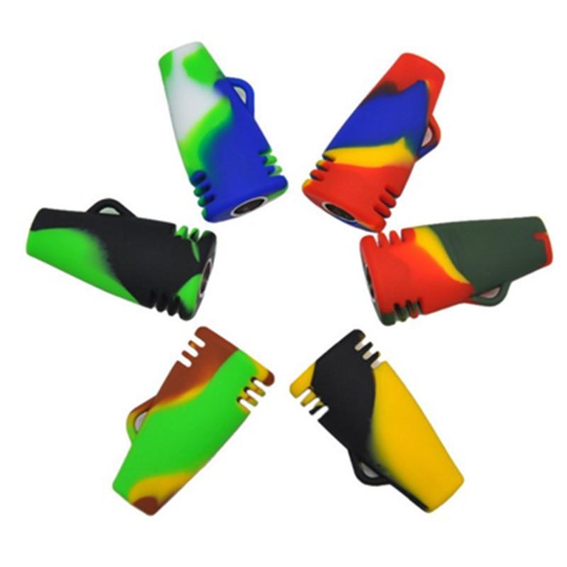 Las pipas de fumar de silicona suave más nuevas de 51 mm de longitud al azar Mini pipas de silicona portátiles de varios colores para fumar tabaco Hierba seca