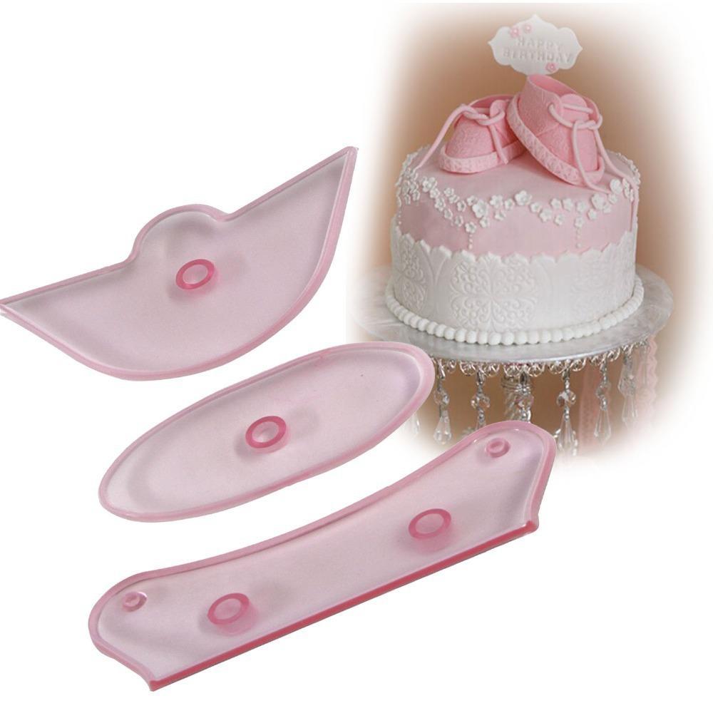 Wholesale- XIBAO 3pcs set Plastic Fondant Cake Mold Baby High Cut Sneaker  Mold DIY Shoes Baking Mold Decoration Accessories