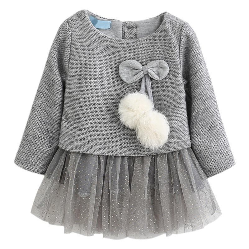 498dc40842 2017 Girls Dress Autumn Long Sleeve Patchwork Plush Ball Bow Tulle ...