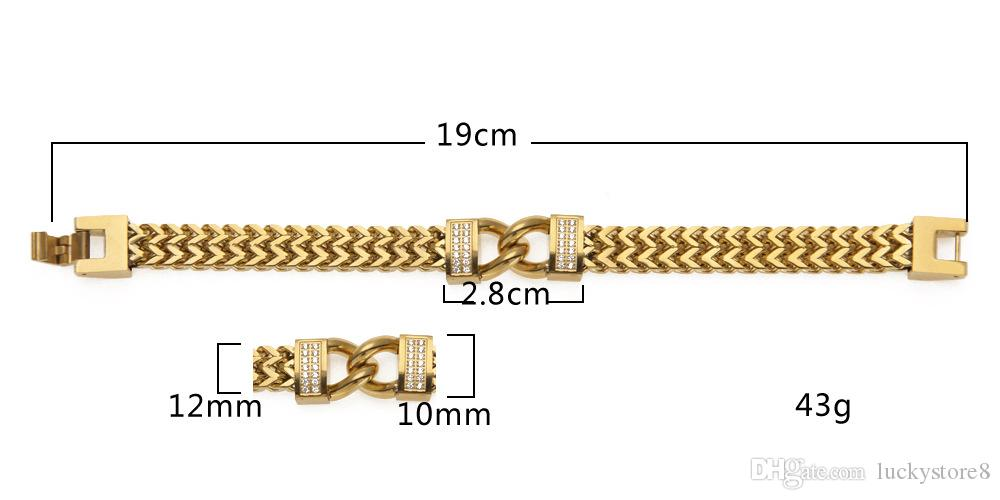 Hip hop bracelet new stainless steel foundry rhinestone, the man 6mm bracelet high quality assurance color accessories