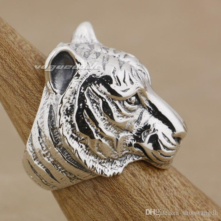 Huge Heavy Tiger 925 Sterling Silver Mens Biker Ring 9M005 US Size 8~14